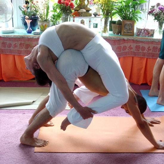 Yoga Partner Stretches Hectic Life Healthy Girl